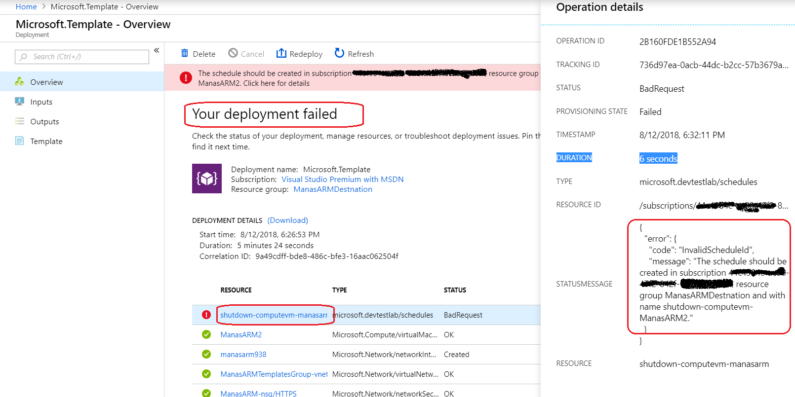 Azure – The schedule should be created in subscription error