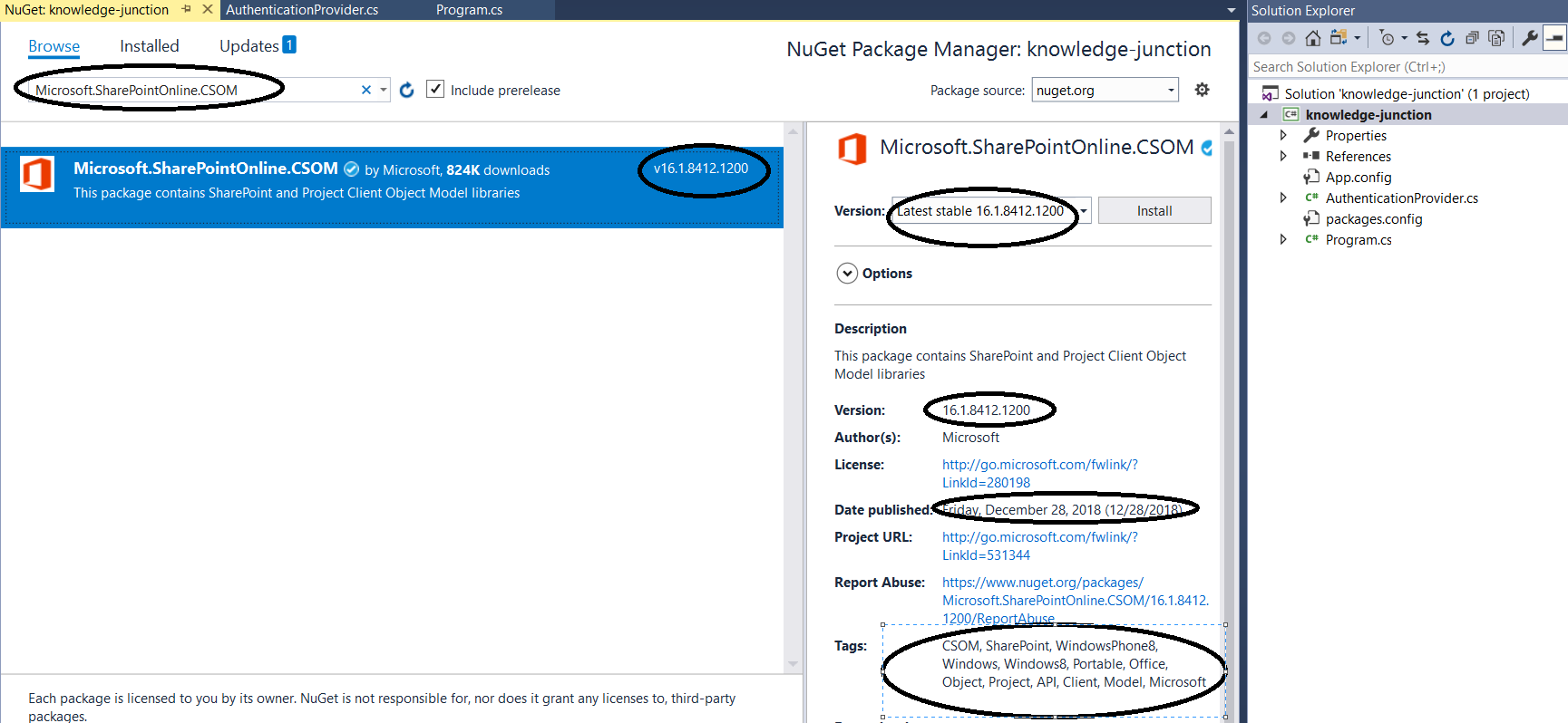 Office 365 – SharePoint Online / Project Online: New version of CSOM package - 16.1.8412.1200