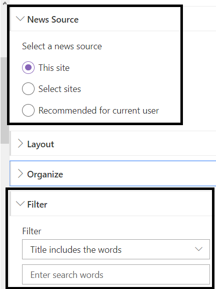 Office 365 - SharePoint Online - OOB News WP - NewsSource Filter Options