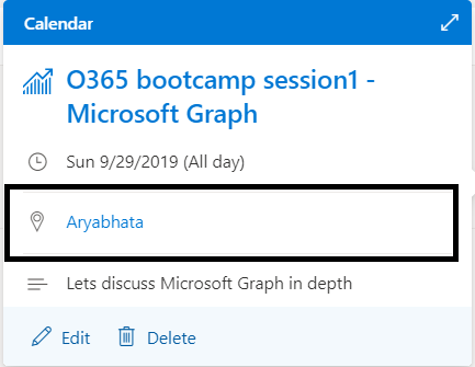 M365 - Microsoft Graph - Event created in Outlook calendar