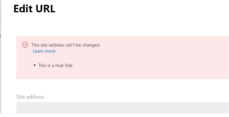 M365 - HUB Sites - Error if we try to edit the URL