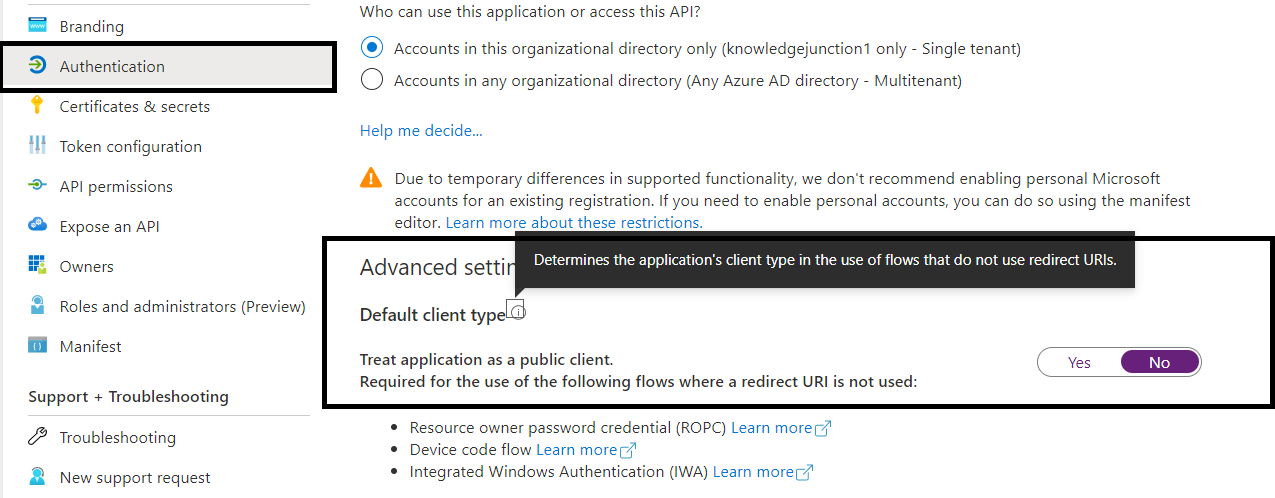 Azure – Azure App Registration – Default setting for – Default client type