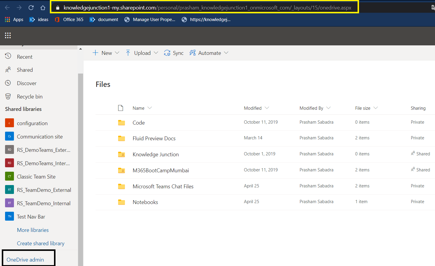 OneDrive admin link on OneDrive home page