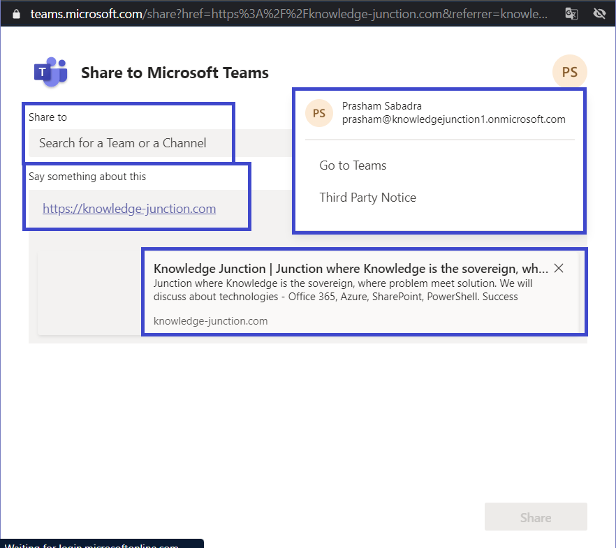 Microsoft Teams - Share To Teams feature